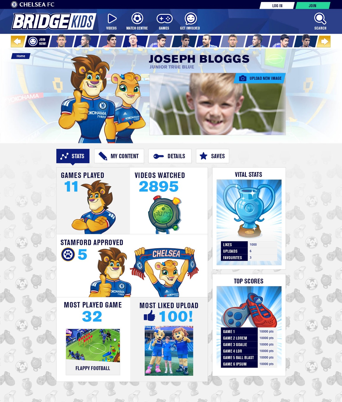 User profile page